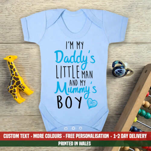 Daddy/'s Little Man And Mummy/'s Boy Baby Vest Love Fathers Day Dad Son Gift Boys