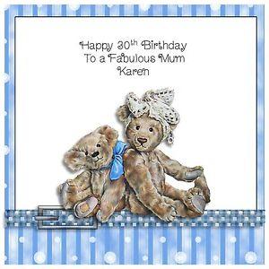 Handmade Personalised Birthday Card Teddy Bear Any Age Girl Ladies