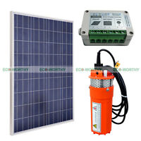 Solar Power Pump Kits 12v Deep Well Water Pump & 100w Solar Panel For Farm Water