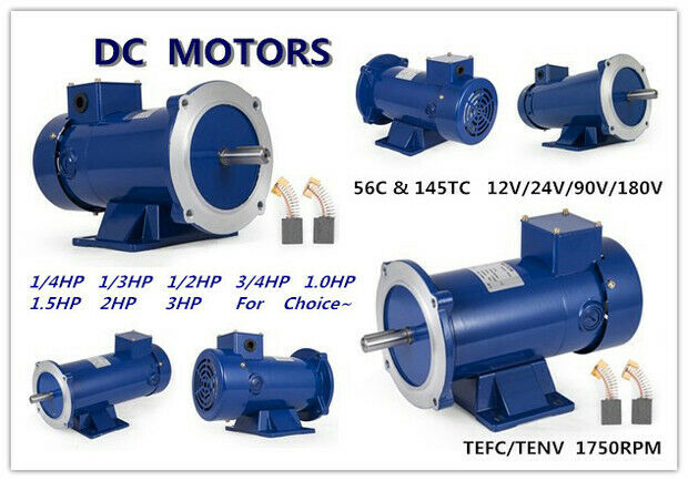 DC MOTOR 1//3HP 56C Frame 90V//1750RPM TEFC MAGNET Versatility Dominate Equipment