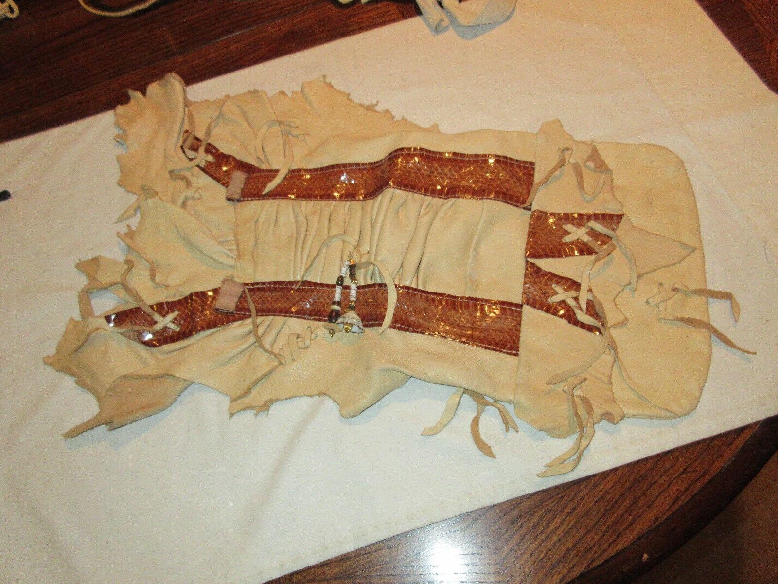 "Erda , Vintage , Handbag , Leather/Hide , Beads , 13""X1"
