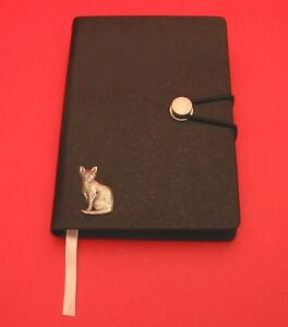 Short-Haired-Cat-Motif-A6-Black-Soft-Touch-Journal-NEW-Father-Mother-039-s-Cat-Gift