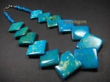 N4139 Ethnic Tribal Square shape Bone Blue color beads Handmade Necklace TIBETAN