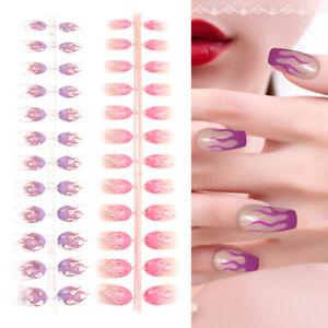 24Pcs-Glitter-Fire-Flame-Finger-Nails-Full-Cover-Fake-False-Nail-Art-Tips-DIY