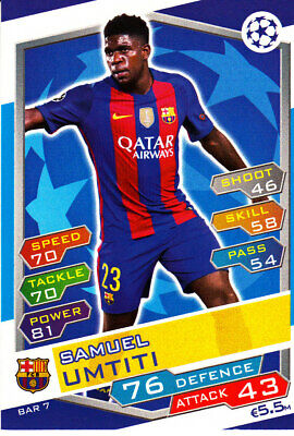 SAMUEL UMTITI FC BARCELONA TOPPS MATCH ATTAX TRADING CARD GAME BAR 7 - eBay
