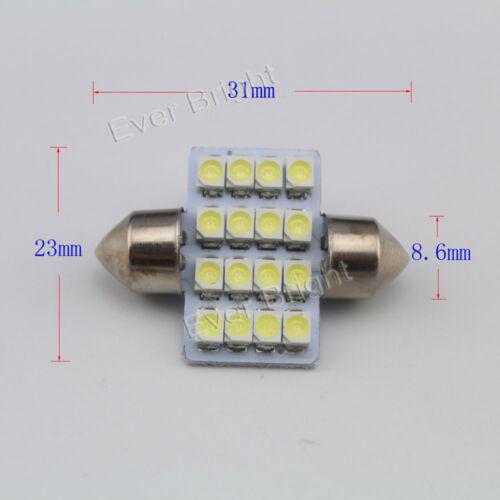31mm 36mm 39mm 41mm 16SMD 1210 LED Interior Reading C5W Festoon Dome Lights 12V