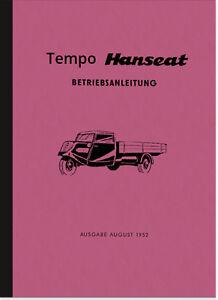 Tempo-Hanseat-Bedienungsanleitung-Betriebsanleitung-Handbuch-Manual-Dreirad-PKW
