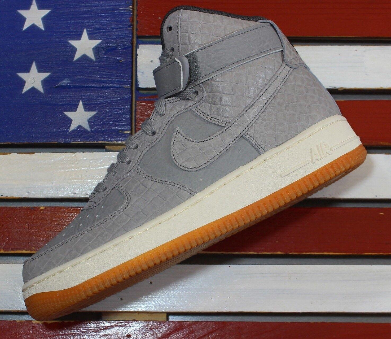 Nike Women's Air Force 1 High Women's Nike Premium Croc Skin Shoes Wolf Grey Gum [654440-008] bde873