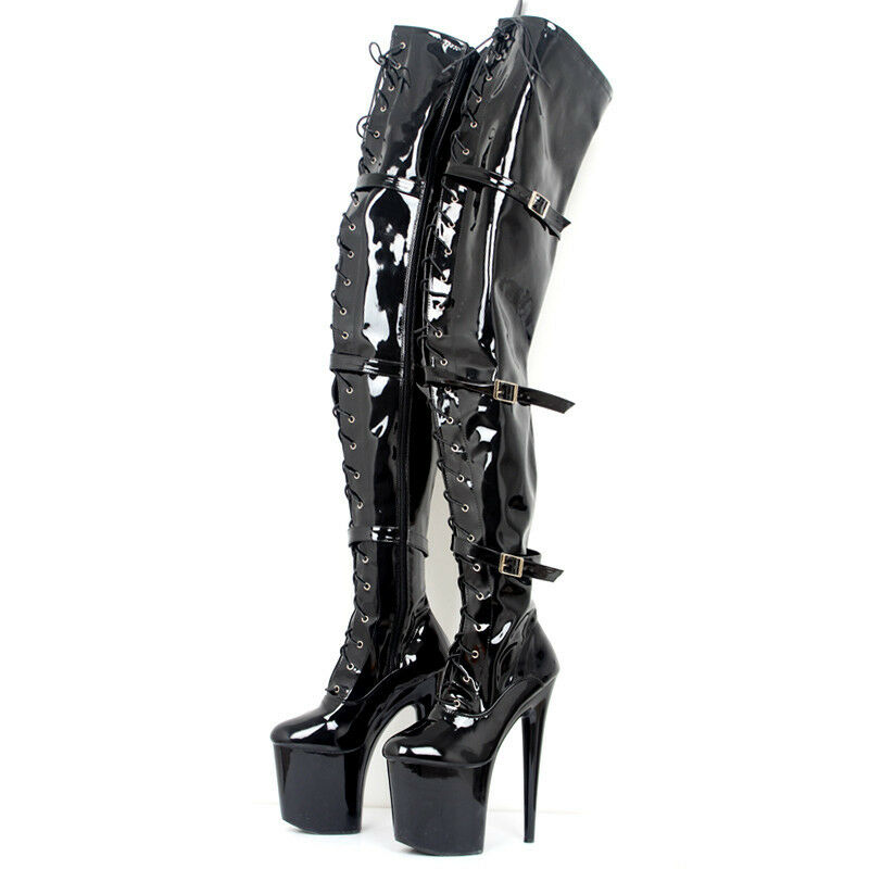 Women's Thigh Thigh Thigh High Boot Patent Leather Over Knee Boots High Heel Nightclub Sexy ba4638