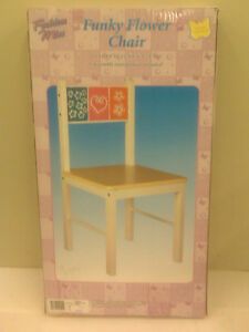 """NEW - FASHION MISS - FUNKY FLOWER CHAIR - CHILD'S WOODEN CHAIR - 23"""" HIGH"""