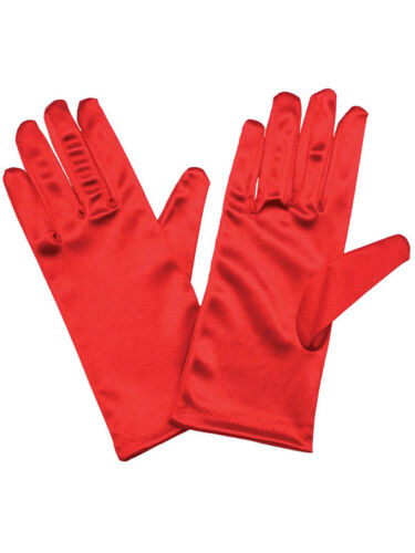 Ladies Short Smooth Satin Wrist Gloves Wedding Evening Prom Red 20/'s Accessory