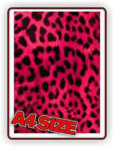 LEOPARD PRINT PINK STICKER A4 SHEET HIGH QUALITY GLOSS VINYL DECAL