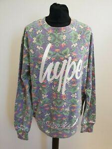 I470-WOMENS-HYPE-BLUE-GREEN-RED-FLORAL-COTTON-CREW-NECK-L-SLEEVE-JUMPER-UK-L