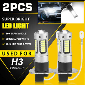 2PCS H3 LED Fog Driving Light Bulbs Conversion Kit Super Bright DRL 6000K White