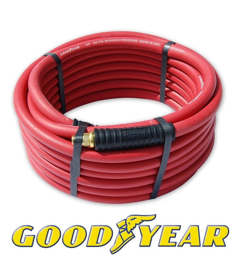 Red Goodyear Air Hose 3 8  x 30' w  Ice Flex Anti Kink Ends 250 PSI