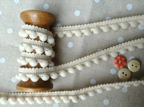 Pearl POM POM BOBBLE TRIM BEST QUALITY PomPoms Size MINI 10mm Cream BONE 0.4/""