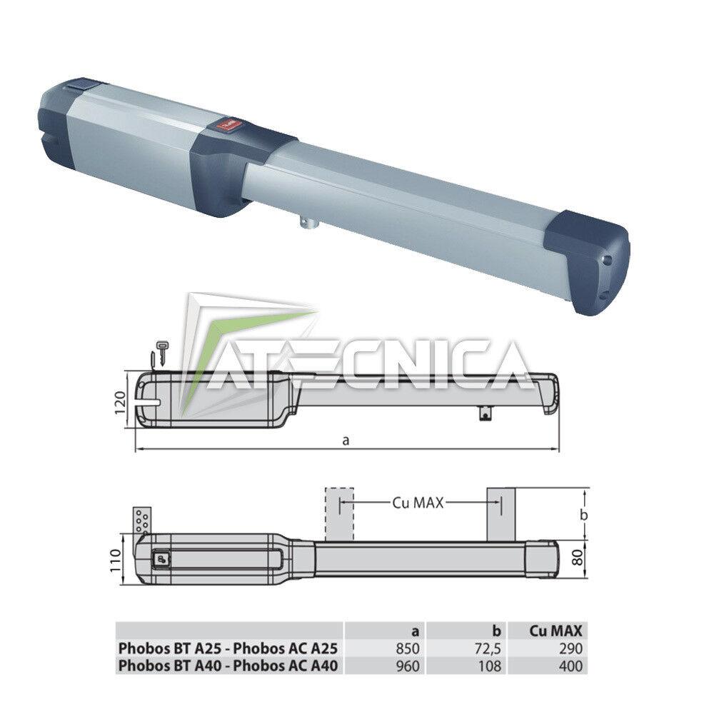 Actuador motor puertas con bisagras BFT PHOBOS BT A25 P935096 00002 24V 2.5 m