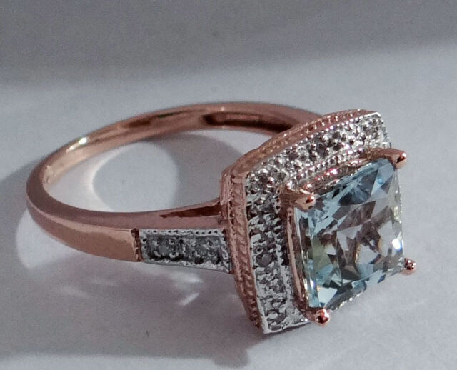 R102 - Genuine 9ct Rose Gold NATURAL Aquamarine & Diamond ENGAGEMENT Ring size O