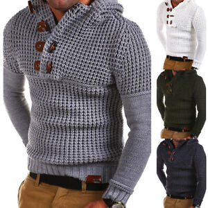 Winter-Mens-Chunky-Knitted-Sweater-Pullover-Hooded-Warm-Jumper-Jacket-Coat-Tops