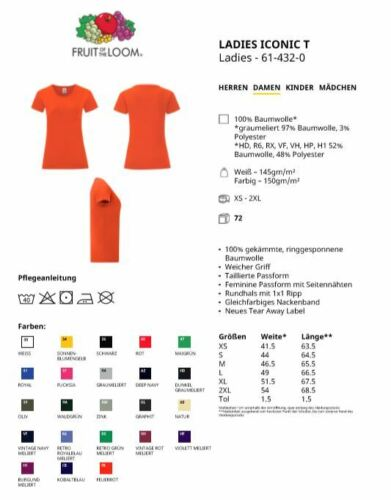 Fruit of the Loom Lady Iconic T-Shirt XS 2XL Frauen Rundhals Kurzarm tailiert