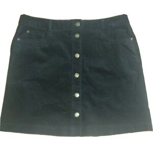 M&s Kollektion Gr 14 schwarz Kord Rock Mini Stretch Knopfleiste 5 Pocket