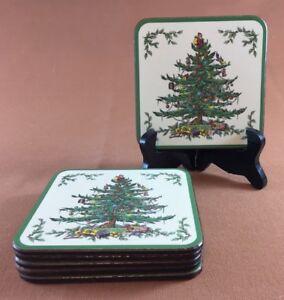 SPODE PIMPERNEL CHRISTMAS TREE COASTERS CORK BACKED set of six