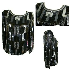 Sequins and beads Silk blouse Black and silver silk top Party sparkle top