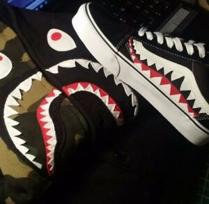 fb2bda0bb292d2 Image is loading Vans-X-bape-shark-teeth-custom-old-skool