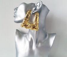 BIG & fab HUGE GOLD tone doorknocker style over sized  creole hoop earrings,