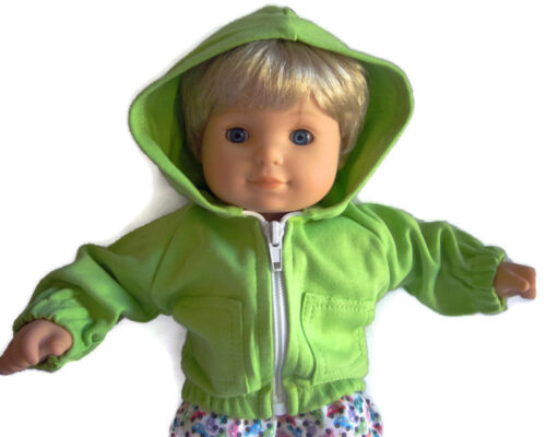Fits American Girl Bitty Baby Doll Clothes Lime Green Hoodie Jacket