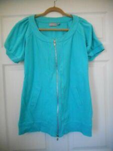 Women-039-s-Sport-Savvy-Stretch-Knit-2-Way-Zip-Tunic-Jacket-w-Raglan-Sleeves-Size-L