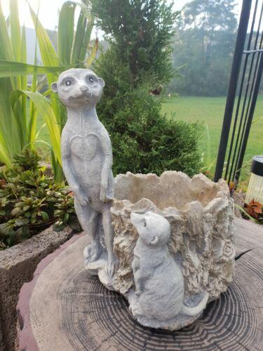 Erdmännchen Gartenfigur Pflanztopf aus steinguss F 0090