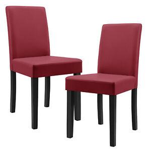 en.casa] Set 2 sillas de comedor tapizada piel sintética granate ...