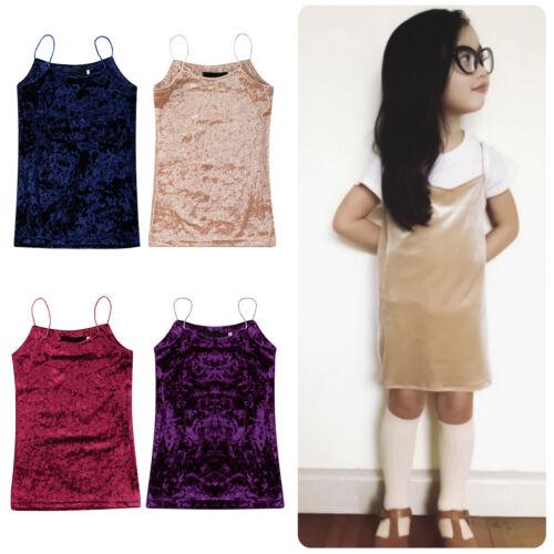 New Girls Baby Toddler Kid/'s Clothes Velvet Spaghetti Straps Skirt Party Dresses