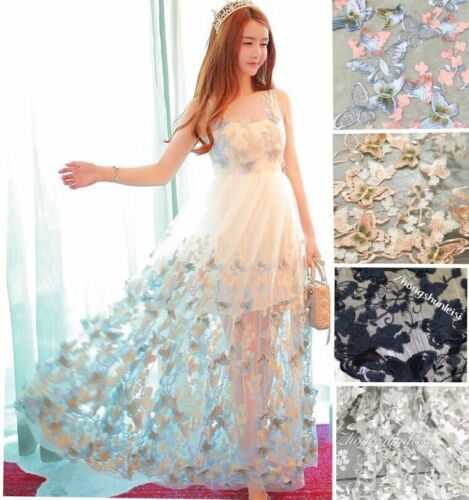 3D Butterfly Embroidery Tulle Lace Material Wedding Dress 59/'/' Wide By Metre New