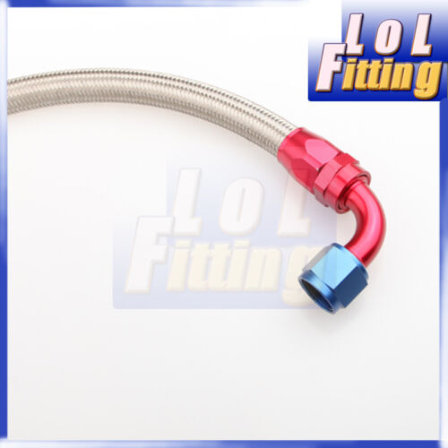 """24/"""" 90° 8AN SS Braided Racing Performance Oil Fuel Coolant Line Hose Assembly"""