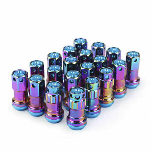 20pcs Neo Chrome M12 x 1.5 mm Composite Close End Heavy Duty Wheel Lug Nuts R40