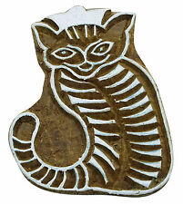 Handcarved Cat Indian Wood Block Art Stamps Brown Printing Block Textile Stamp
