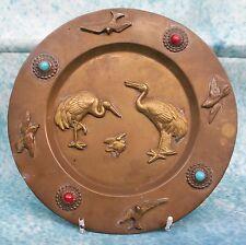 Vintage Pakistan Brass Plate Raised Decoration Crane Family & Cabuchon Beads