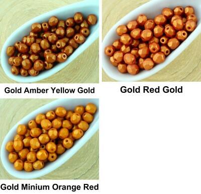 100pcs Matte California Gold Round Faceted Fire Polished Small Spacer Czech Glas
