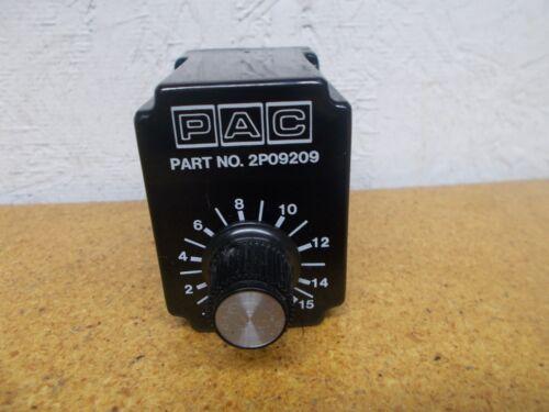 PAC 2P09209 Relay Timer .5-15 Sec 120VAC 50//60Hz 10A 1//3HP 120//240VAC Used