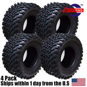 "Set of 4 New Golf Cart STEELENG All Terrain Tires 22""x11""-10"" 4PLY"