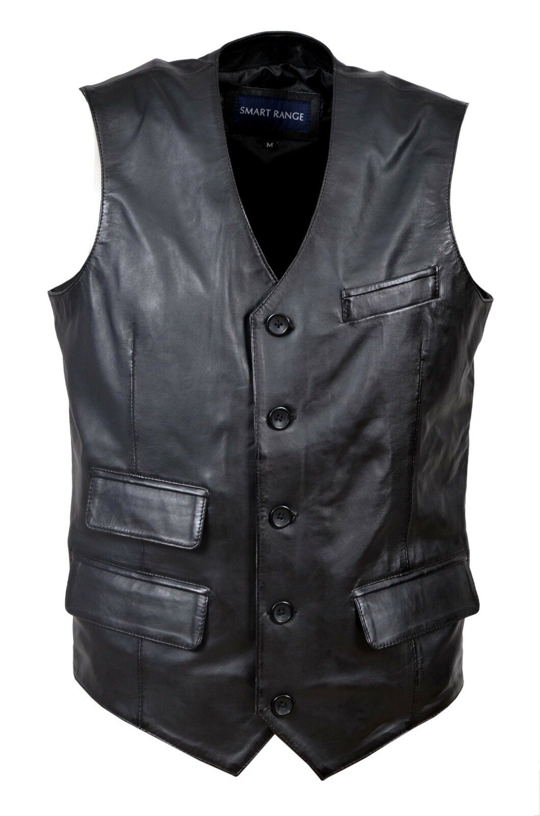 NEW DELUXE BLACK WAISTCOAT REAL LEATHER BLACKLIST PARTY CASUAL FASHION VEST LARP