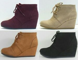 New Womens Fashion Ankle Bootie Wedge Lace Up Faux Suede Shoe ~ Free Shipping