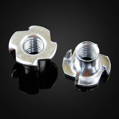 20 x Carbon Steel Zinc Plated 4 Prongs T Nut Fastener M8 x 10mm