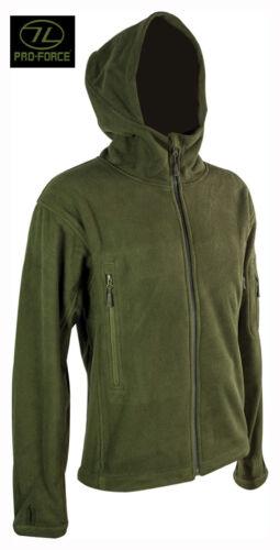 Da Uomo Militare Esercito Combattimento Felpa con Cappuccio Zip Fleece Felpa Con Cappuccio Sudore Giacca Camicia Top Verde