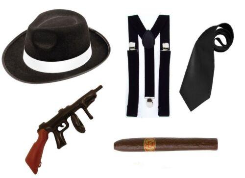 Gangster set Al Capone Flapper 1920s 5 Piece Set Kit Fancy Dress Up Mafia set
