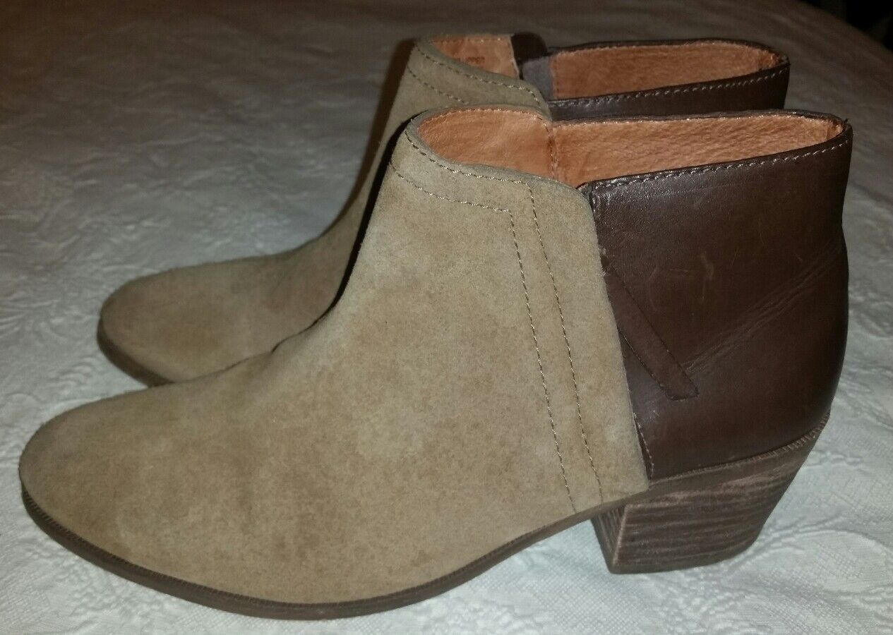 Madewell  210 The Cait Stiefel schuhe Leather Tan Suede Stiefelies E2237 Sz 8.5