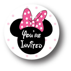 Image Is Loading 30 Minnie Mouse Birthday Party Invitation Stickers You