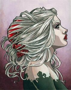 Gothic-Portrait-Woman-with-Red-Skull-in-Hair-ORIGINAL-FANTASY-ART-8-034-x-10-034
